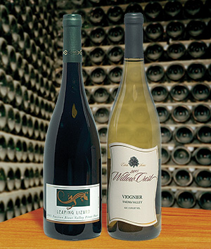 Leaping Lizard Pinot Noir from Sonoma and Willow Crest Viognier from Washington